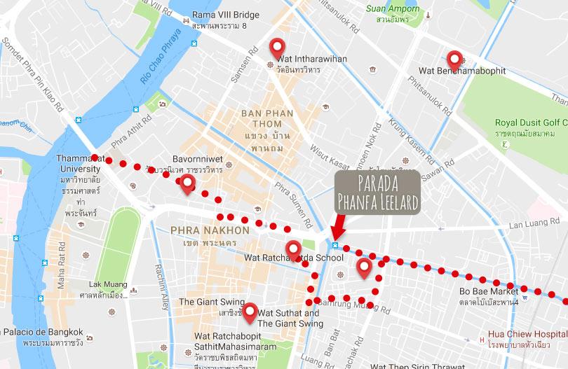 plano con templos de interés en Bangkok